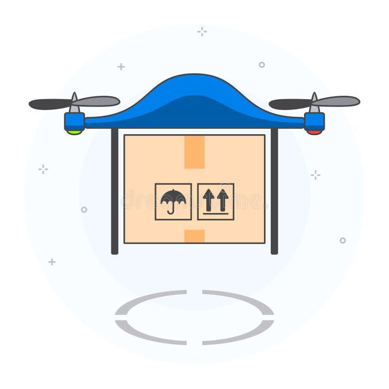Concept het verschepen en levering door onbemand luchtvoertuig royalty-vrije illustratie