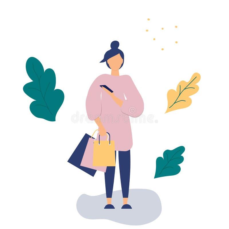 In concept het winkelen: meisje met document zakken van opslag en smartphone Vlakke Funky Cijfersstijl Verfraaide mooie bladeren  royalty-vrije illustratie