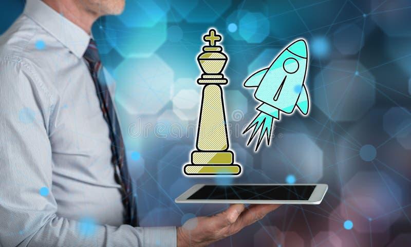 Concept het winnen van bedrijfsstrategie royalty-vrije stock afbeeldingen