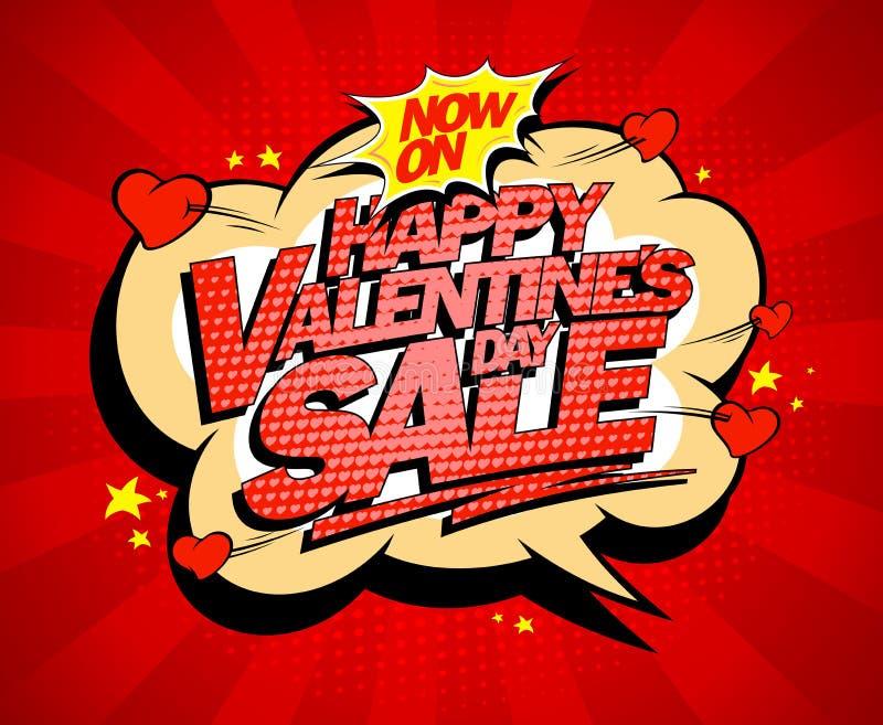 Concept heureux d'affiche de vente de jour de valentines illustration libre de droits