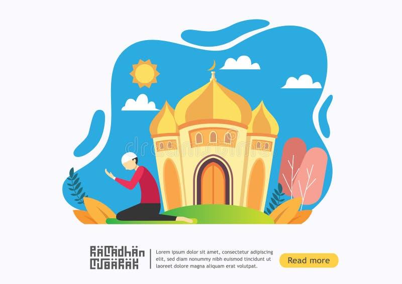 Concept heureux de chariot de salutation de Ramadan Mubarak avec le caract?re de personnes dans la mosqu?e pour le calibre de pag illustration libre de droits