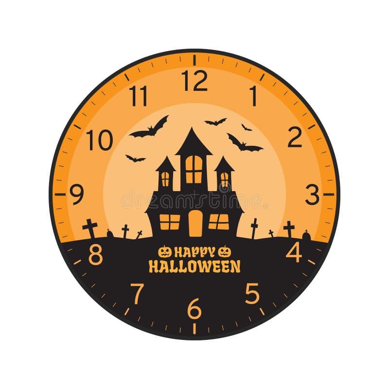 Concept heureux de Halloween, calibre imprimable de visage d'horloge murale illustration stock