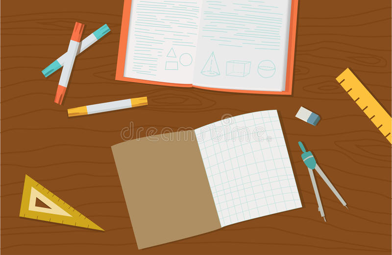 Concept of high school object and college education items stock photos