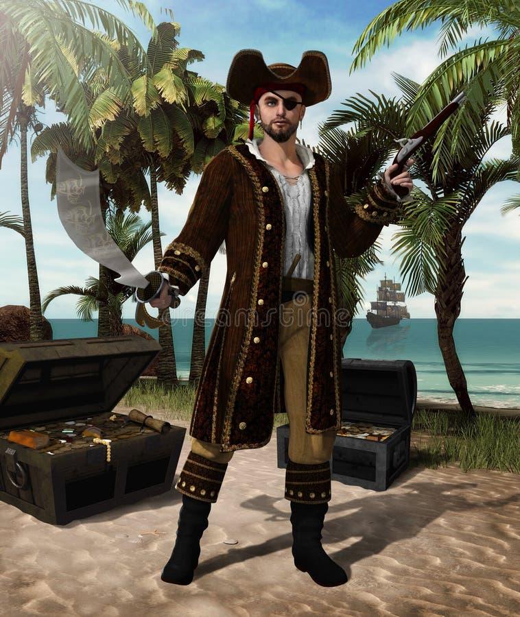 Pirate Captain defending Treasure Island. Concept of a high seas pirate captain holding a scimitar sword and a flintlock pistol defending his treasure island, 3d stock illustration
