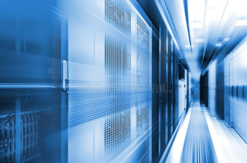 Concept of high-speed computing of modern computing technologies and data centers. Server room with flow tracers on top royalty free stock photography