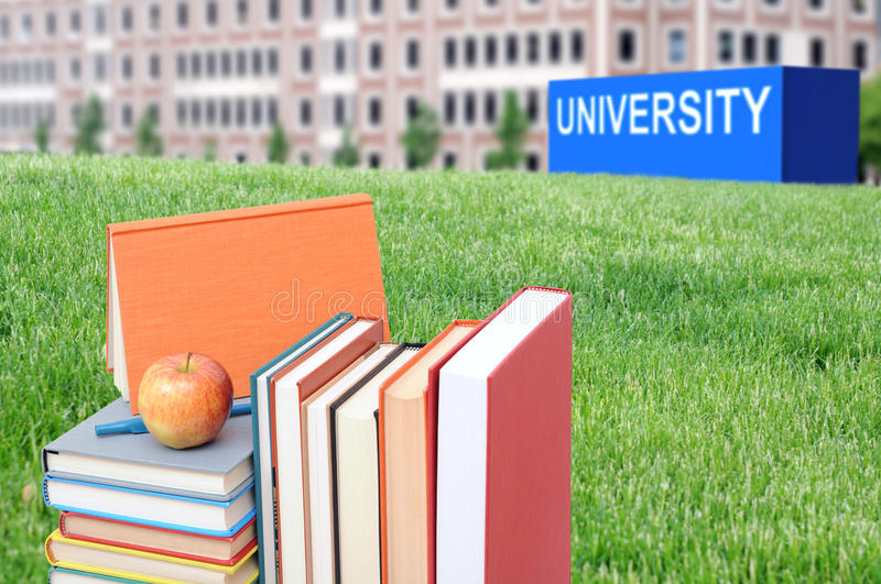 Concept of higher education. Book, campus, university royalty free stock images