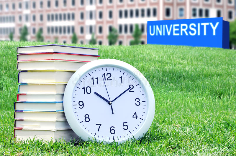 Concept of higher education. Book, campus, university stock images