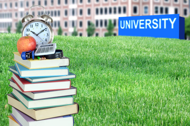 Concept of higher education. Book, campus, university royalty free stock image