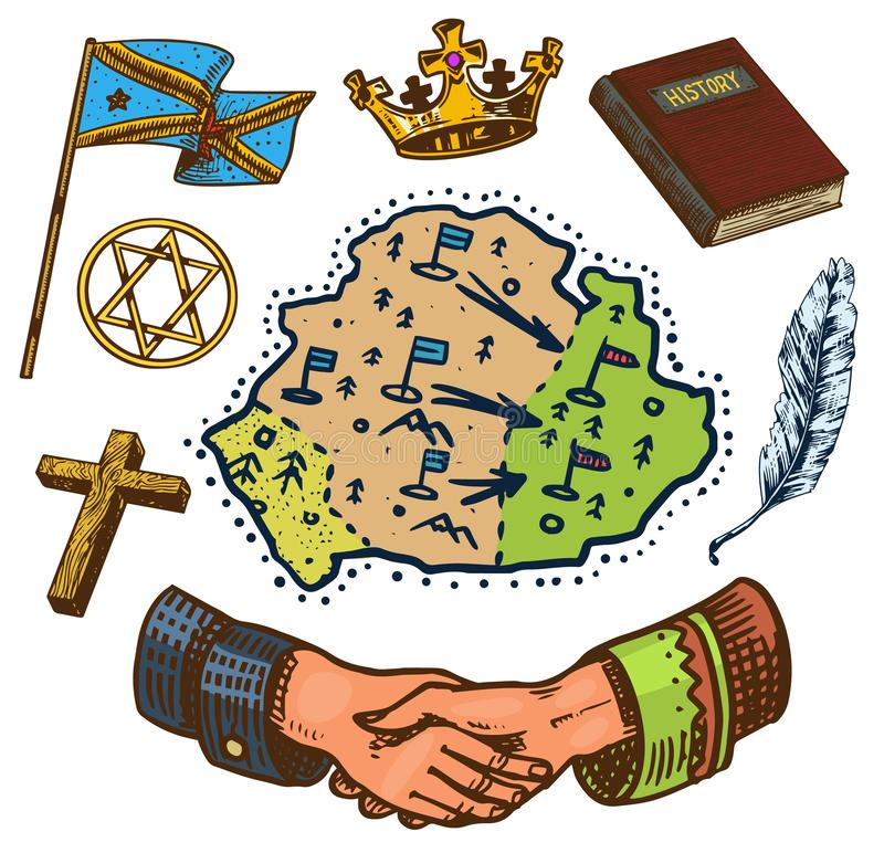 The concept of history on earth. Education, religion and old ancient symbols. Handshake Map Book Flag Crown. Hand drawn stock illustration