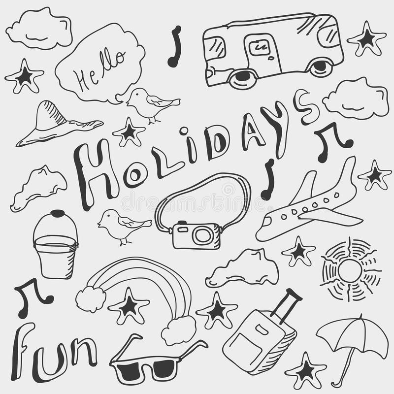 Concept of holiday doodles. royalty free illustration