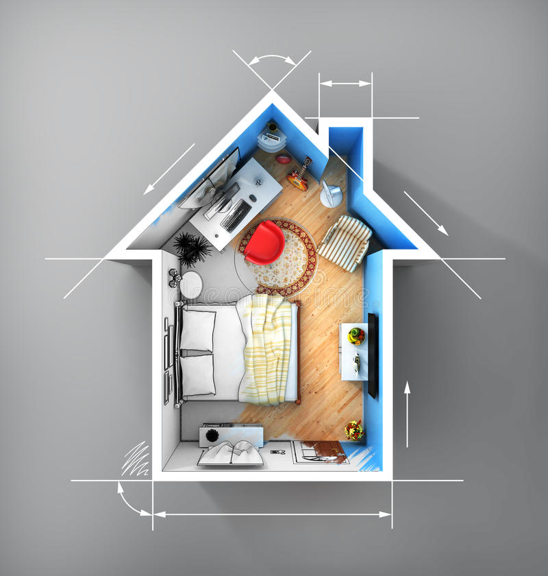 Concept of home. Flat full of things in form of house in top view with dimensions. Rent, buy and realization concept royalty free illustration