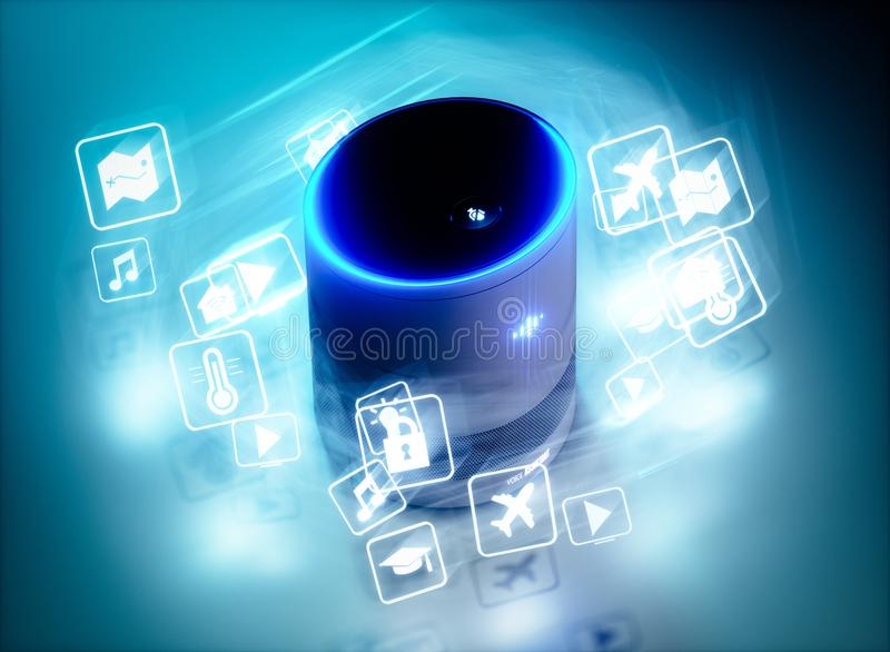 Concept of home intelligent voice activated assistant with voice command icons. 3D rendering concept of hi tech futuristic artificial intelligence speech stock illustration
