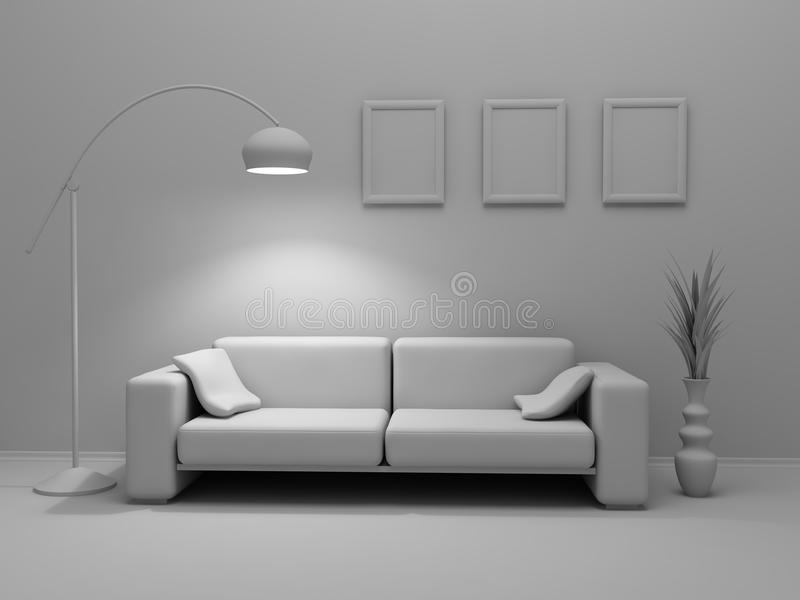Concept of the home interior in grey color stock photos