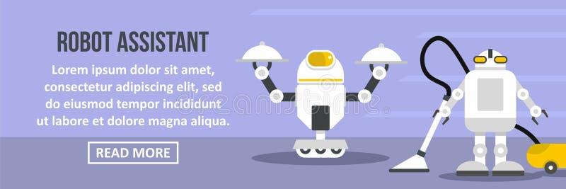 Concept horizontal de bannière auxiliaire de robot illustration de vecteur