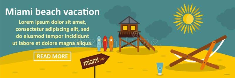 Concept horizontal de bannière de vacances de Miami Beach illustration de vecteur