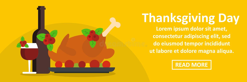 Concept horizontal de bannière de jour de thanksgiving illustration stock