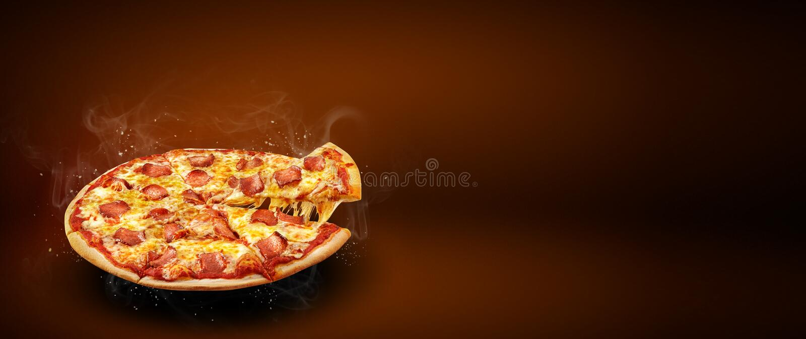 Concept promotional flyer and poster for pizzeria menu with delicious taste pizza pepperoni, mozzarella cheese and copy space stock image