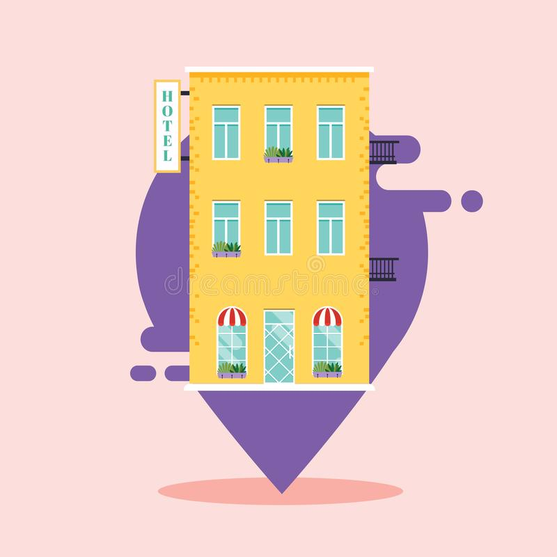 Concept of hotel search. ind hotel on city map. Flat design style modern vector illustration concept.  stock illustration