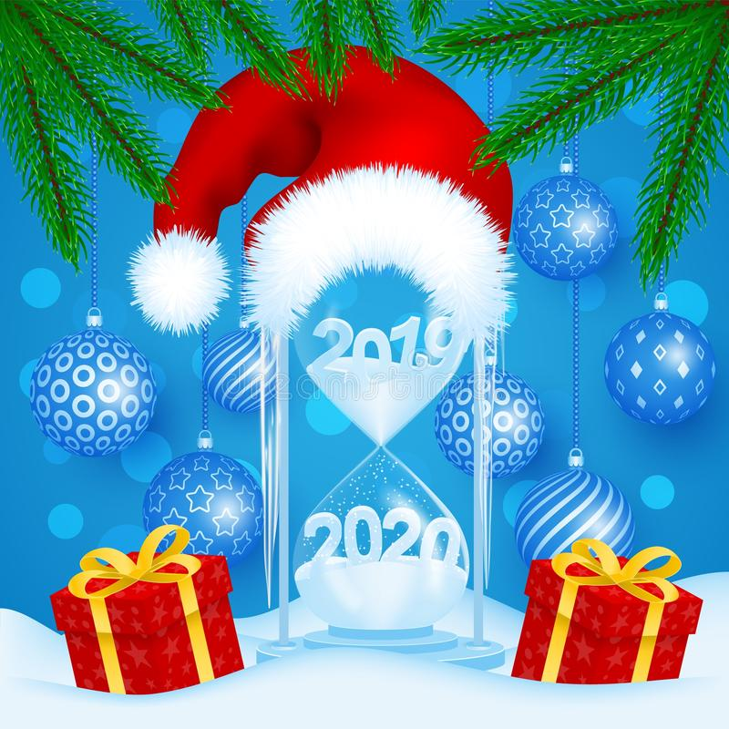 The concept of hourglass with a Santa hat. Transition year 2019 to 2020. Holiday gifts, Christmas balls, spruce branches. EPS 10 royalty free illustration