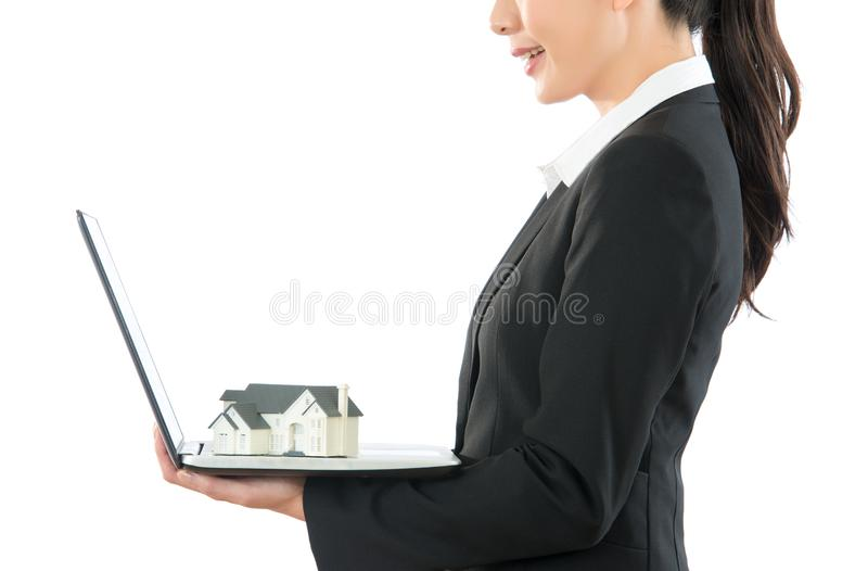 Concept of house agent combine online service royalty free stock photo