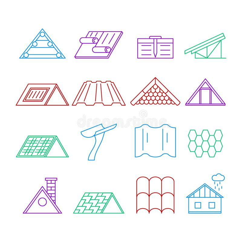 Concept House Roof Construction Thin Line Icon Set. Vector. Concept House Roof Construction and Element Thin Line Icon Set for Web and App Isolated on White vector illustration