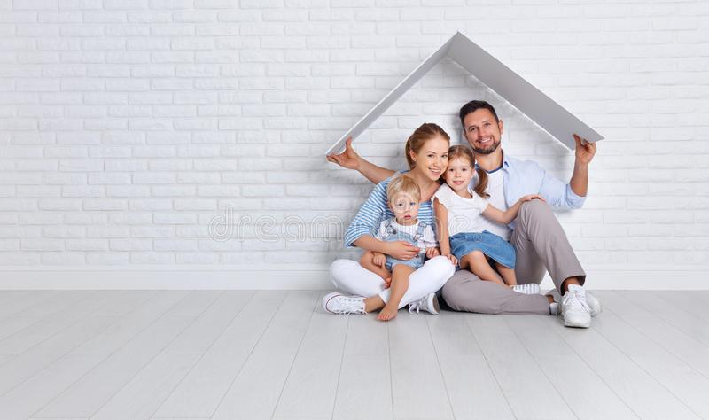 Concept housing a young family. mother father and children in n stock photography
