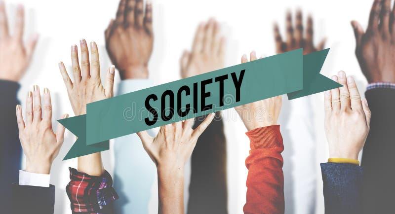 Concept humain de main de la Communauté de diversité de connexion de société photos stock