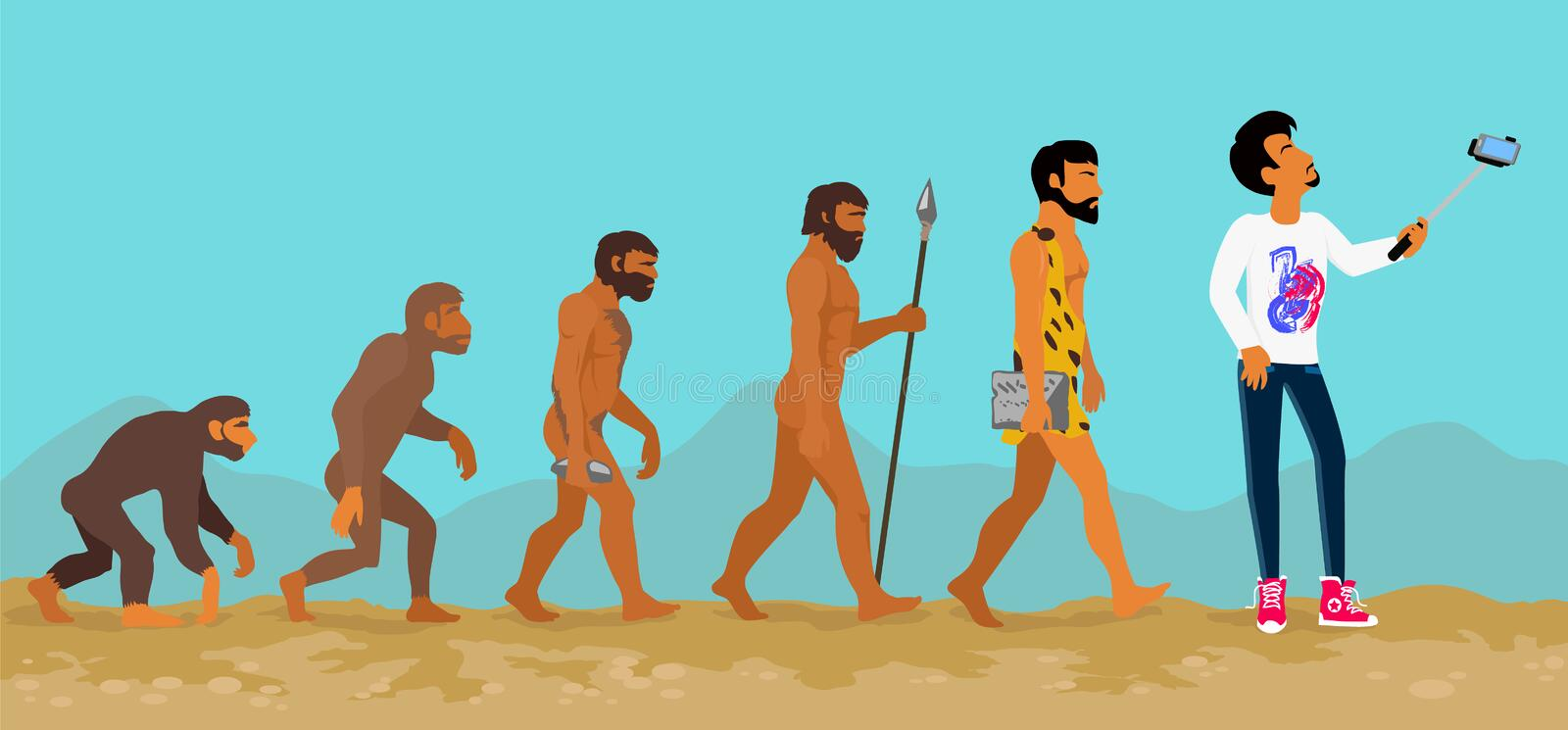 Concept of Human Evolution from Ape to Man stock illustration
