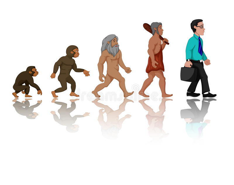 Concept of human evolution from ape to man vector illustration