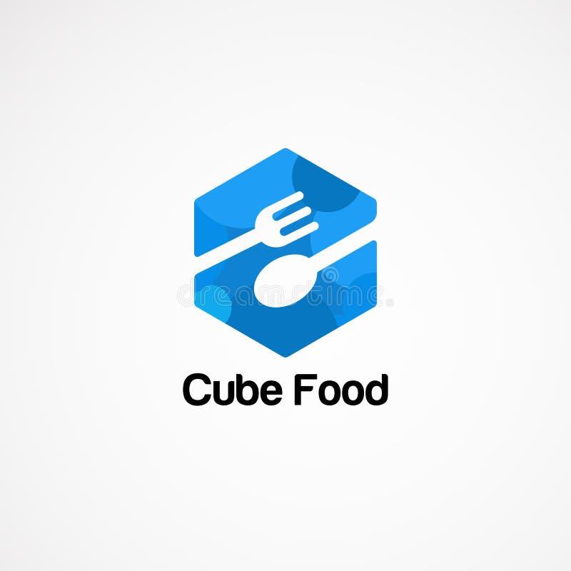 Concept, icône, élément, et calibre bleus de vecteur de logo de nourriture de cube pour la société illustration stock