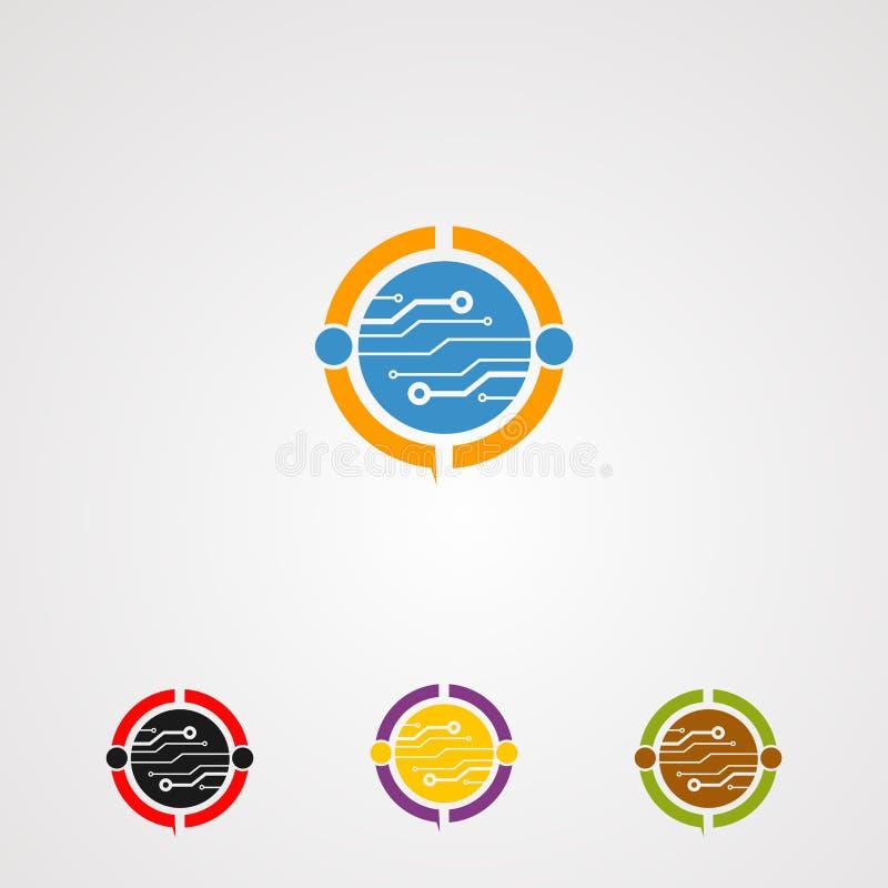 Concept, icône, élément, et calibre réglés sociaux de vecteur de logo de circuit pour la société illustration stock
