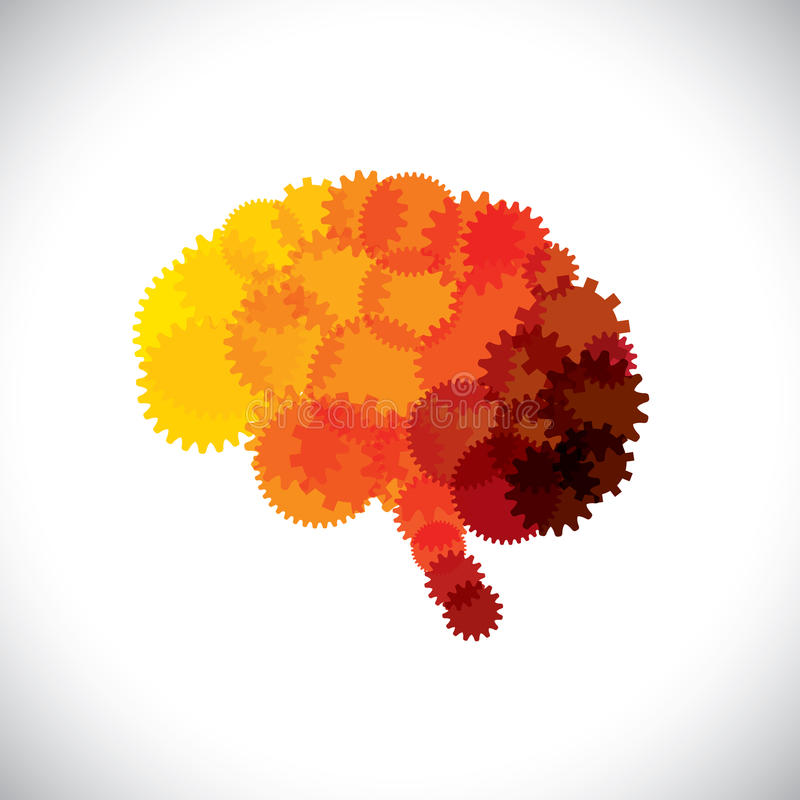 Concept icon of abstract brain or mind with cogwheels royalty free illustration