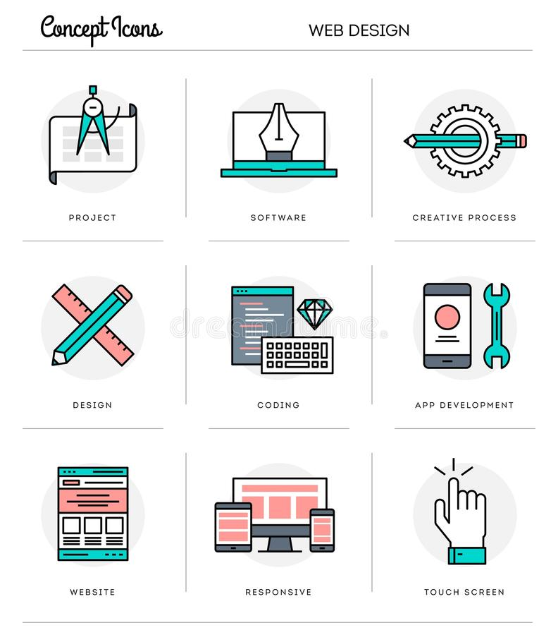 Concept icons, web design, flat thin line design vector illustration