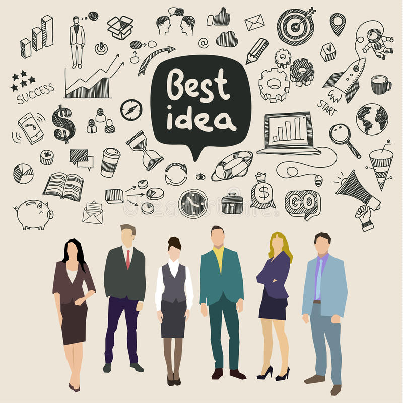 Concept of idea. Business social networking and communication. Flat design, vector illustration stock illustration
