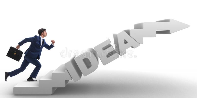 Download The Concept Of Idea With Businessman Climbing Steps Stairs Stock Image - Image of idea, brainstorm: 118371283