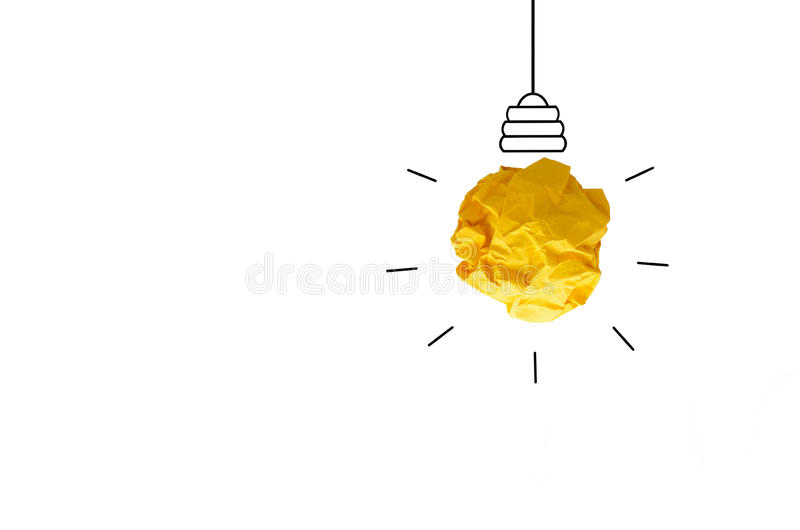 concept idea crumpled Paper Light Bulb on white backgournd stock photos