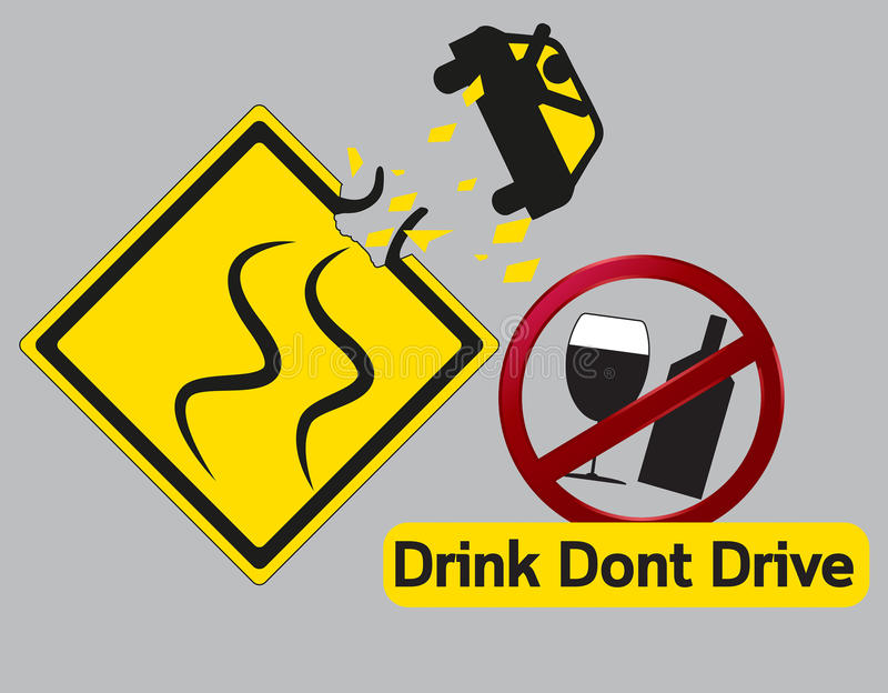 Concept idea Drink dont and drive. Vector concept Danger Drink dont and drive stock illustration