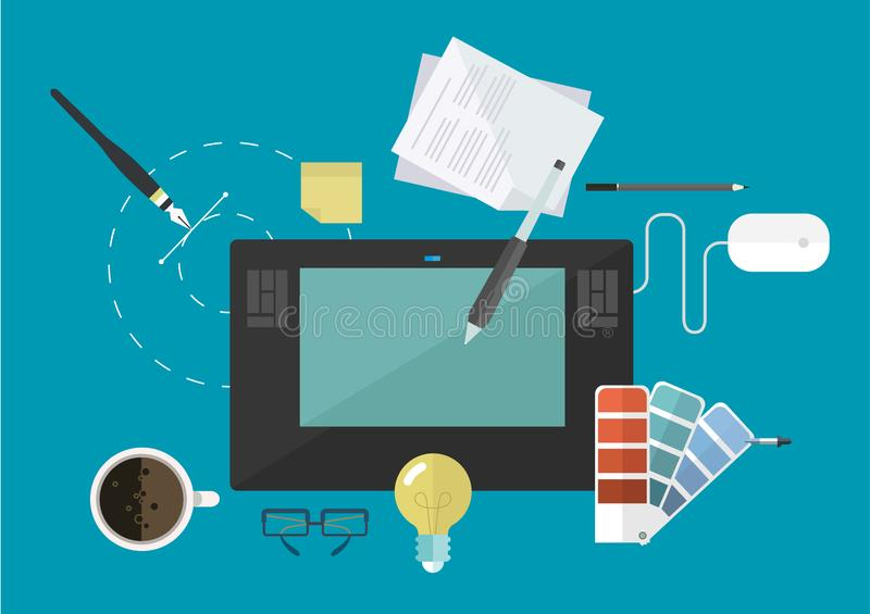 Equipments or tools and workspace of creative graphic designer, concept idea flat line vector and illustration. Concept idea, equipments and workplace of vector illustration