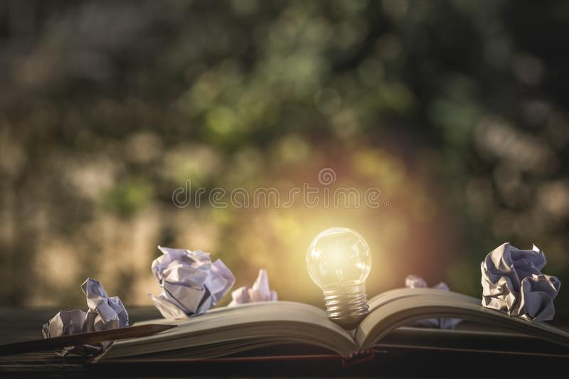 Concept idea. Growing light bulb on vintage book with crumpled p stock image