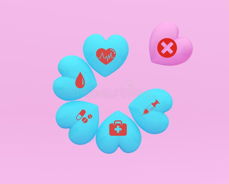 Concept idea about of health and medical insurance, arranging heart-shaped stacking with icon healthcare medical on pink backgroun. D royalty free stock images