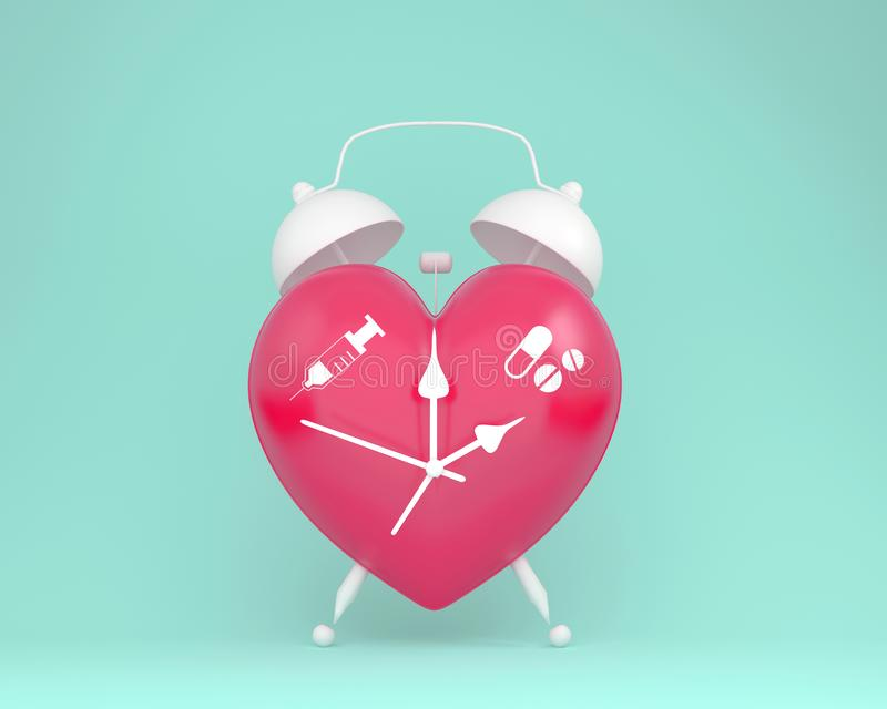 Concept idea about of health and medical insurance, Creative idea layout red heart alarm clock with icon healthcare medical on pas stock illustration