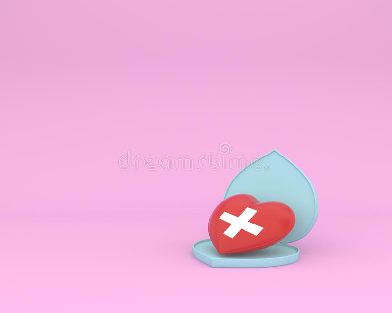 Concept idea about of health and medical insurance, Open outstanding red heart shape with icon healthcare medical on pink pastel b royalty free stock photo