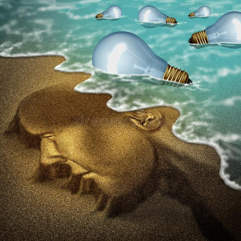 Concept Of Idea. And imagination as a a beach shaped as a human head with light bulbs arriving to shore as a creativity of the mind symbol with 3D illustration stock illustration