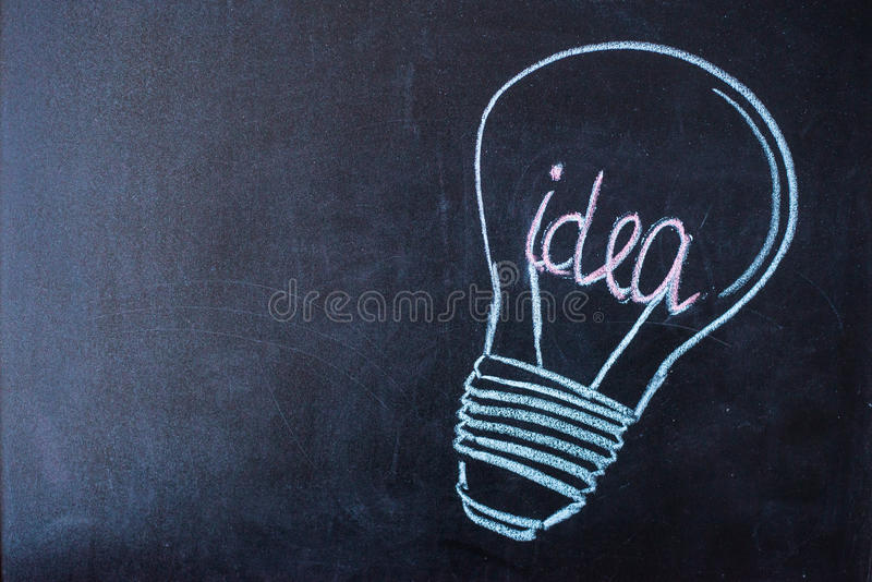 Concept - idea light bulb drawn with chalk on a blackboard stock image
