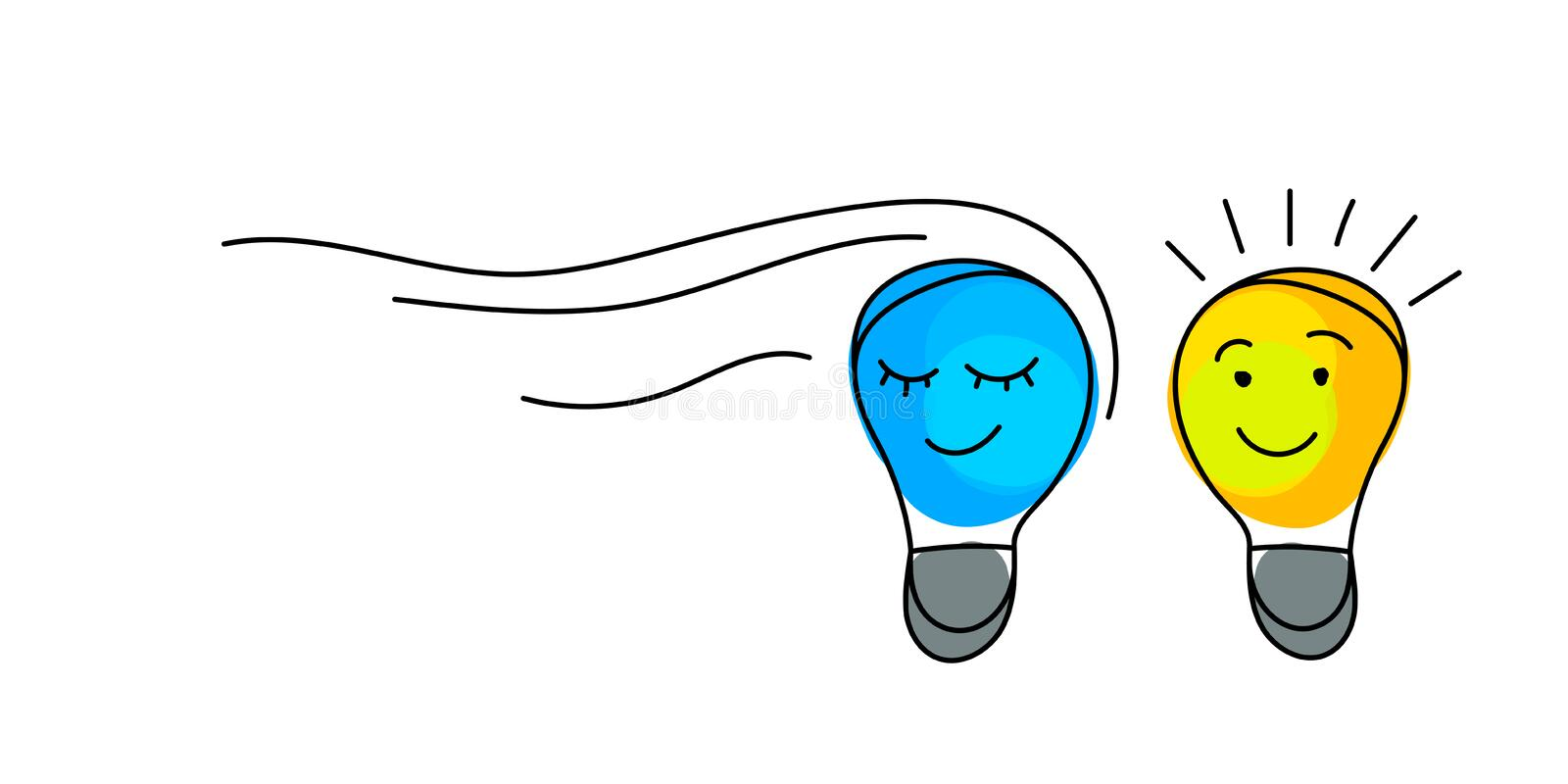 Concept of idea. Light bulbs with character faces. royalty free illustration