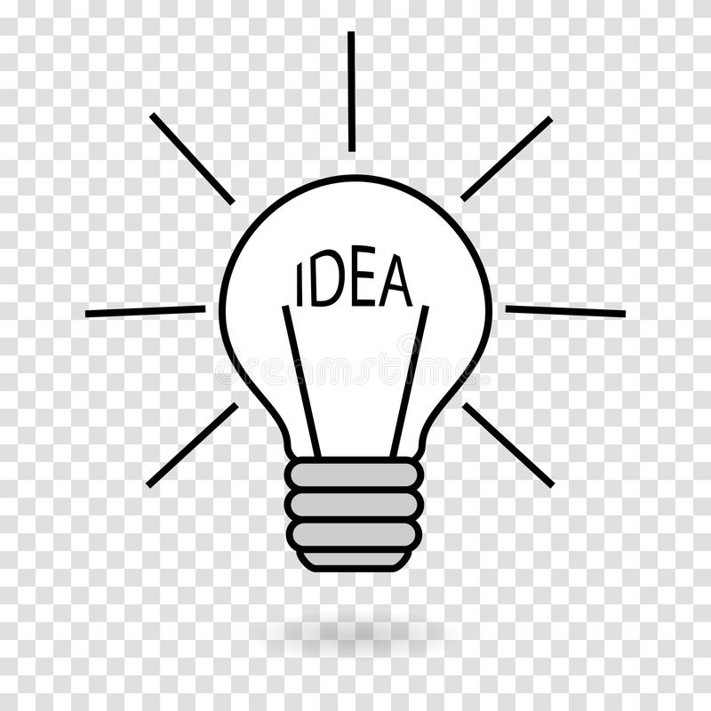 Concept-idea, the light on a hand-drawn lamp turns on. The source of light is the word IDEA. Vector illustration of a transparent background vector illustration