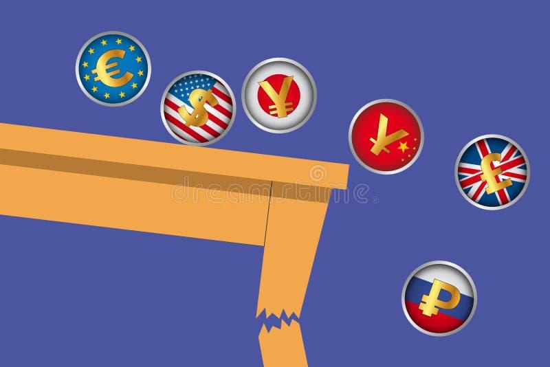 Concept illustrant les conséquences de la guerre de commerce international et la faillite des économies illustration de vecteur