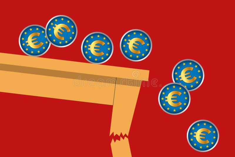 Concept illustrant les conséquences de la guerre de commerce international et l'effondrement de l'économie européenne illustration stock