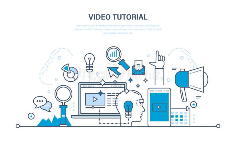 Concept illustratie - informatietechnologie, promo, media, het leren en onderwijs royalty-vrije illustratie