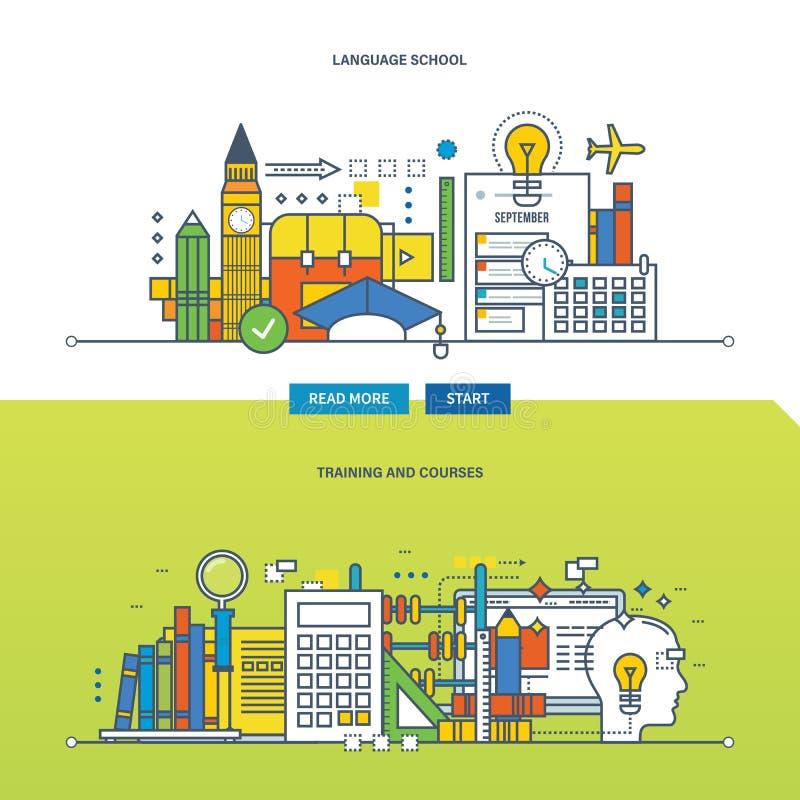 Concept illustratie - schooltaalcursussen en cursussen royalty-vrije illustratie